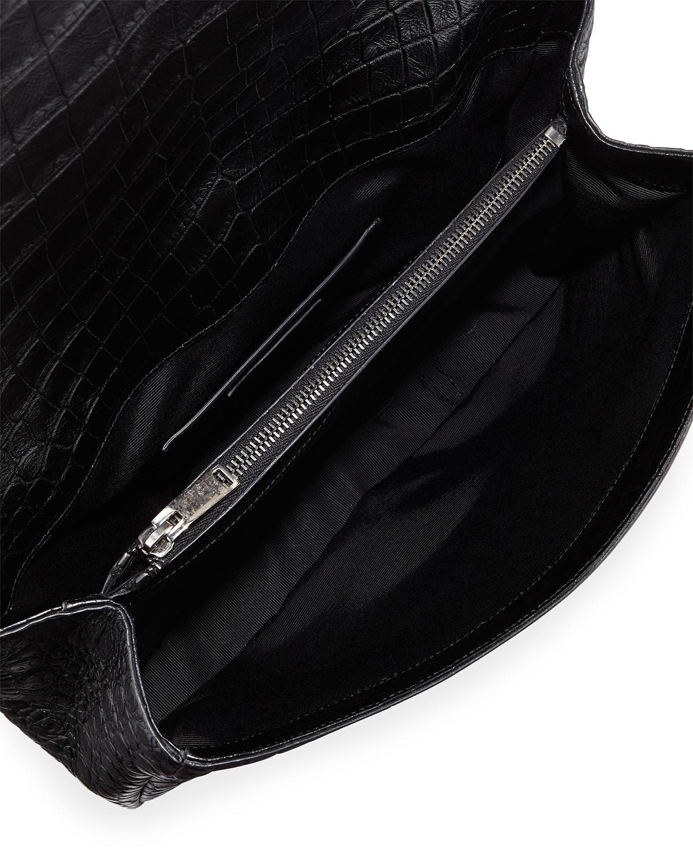 Saint Laurent - Black Monogram College Croc-embossed Crossbody Bag - Lyst 7b30bf4822b88