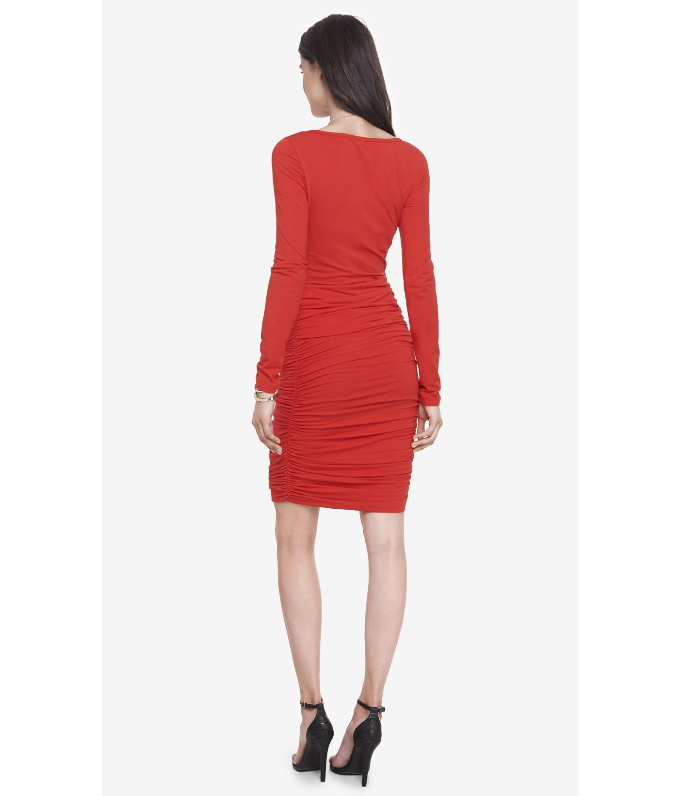 Lyst express red long sleeve ruched dress in red for I see both sides like chanel shirt
