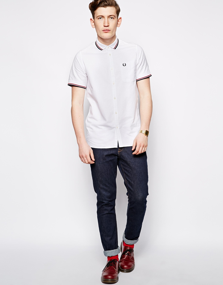 Fred perry Shirt in Oxford with Tipping Short Sleeve in ...