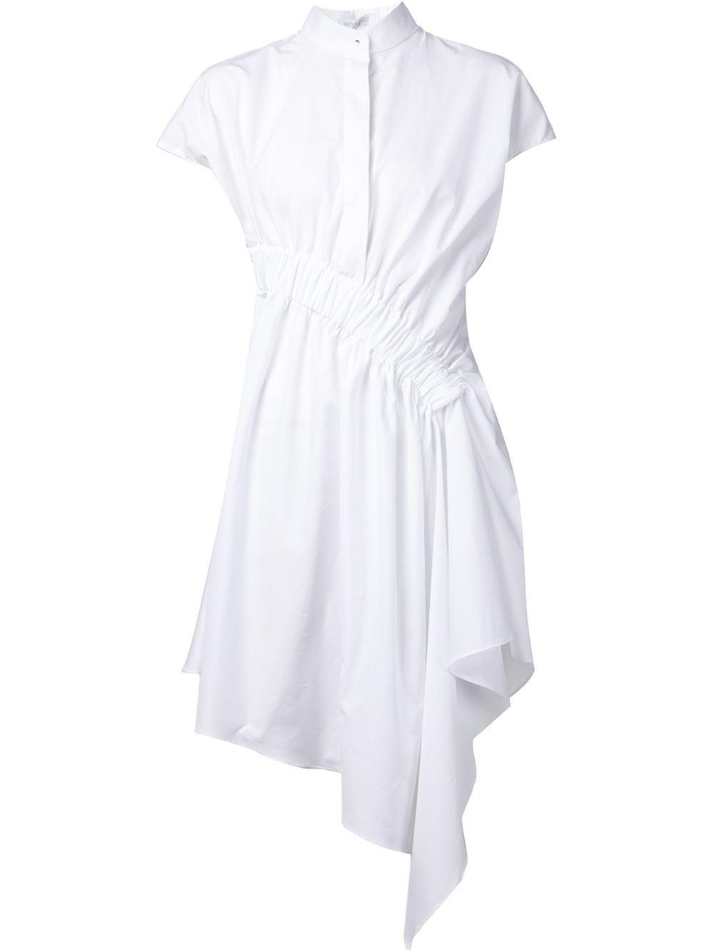 viktor rolf drape detail asymmetric shirt dress in black white save 50 lyst. Black Bedroom Furniture Sets. Home Design Ideas
