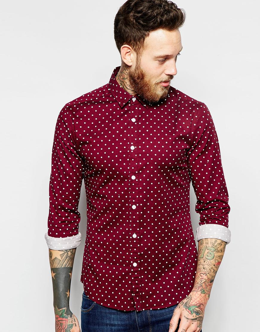 asos skinny shirt with polka dot in burgundy with long