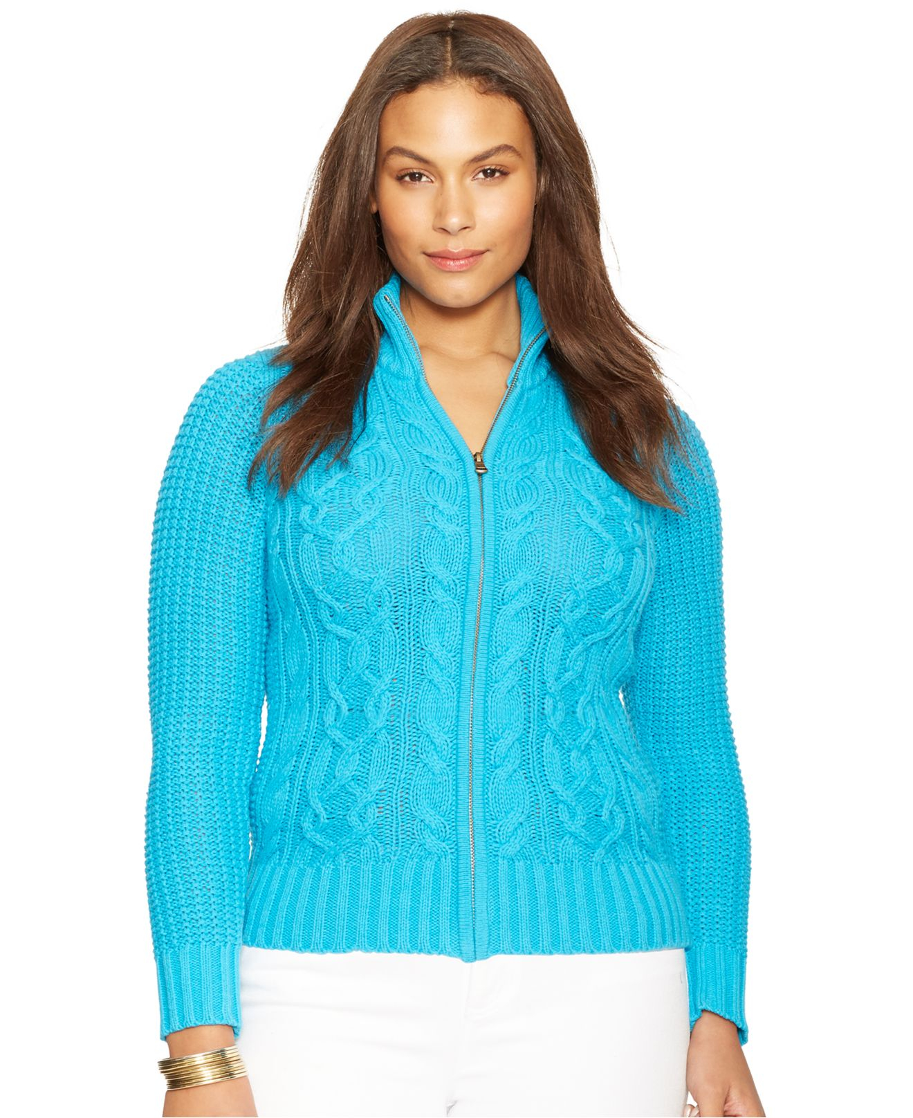 Lauren By Ralph Lauren Plus Size Cable Knit Zip Front