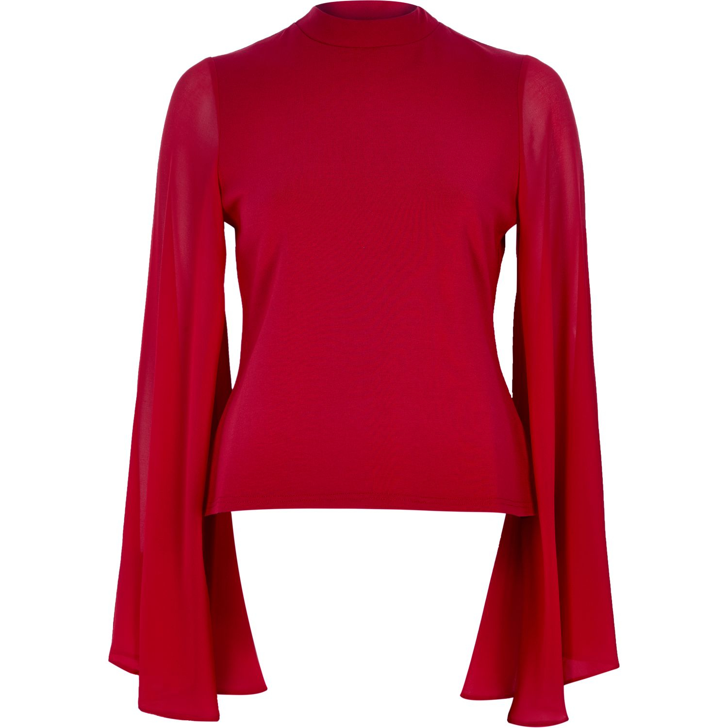 b73d9b873d0 River Island Red Flared Sleeve Cut-out Back Top in Red - Lyst