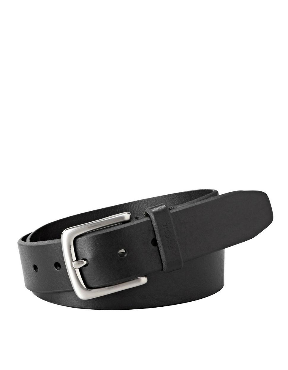 fossil joe leather belt in black for lyst