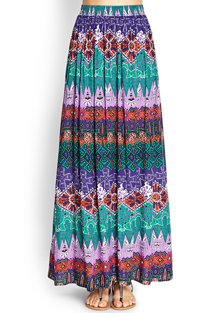 forever 21 tribal print maxi skirt in multicolor purple