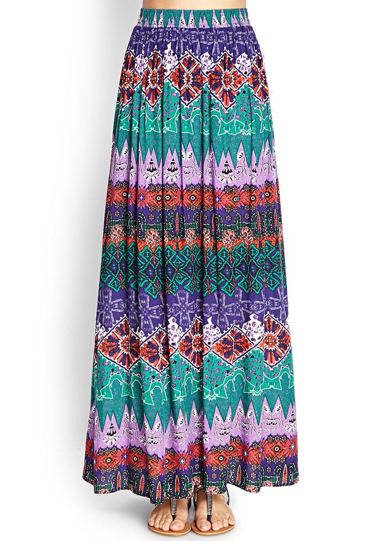 forever 21 tribal print maxi skirt in multicolor purple