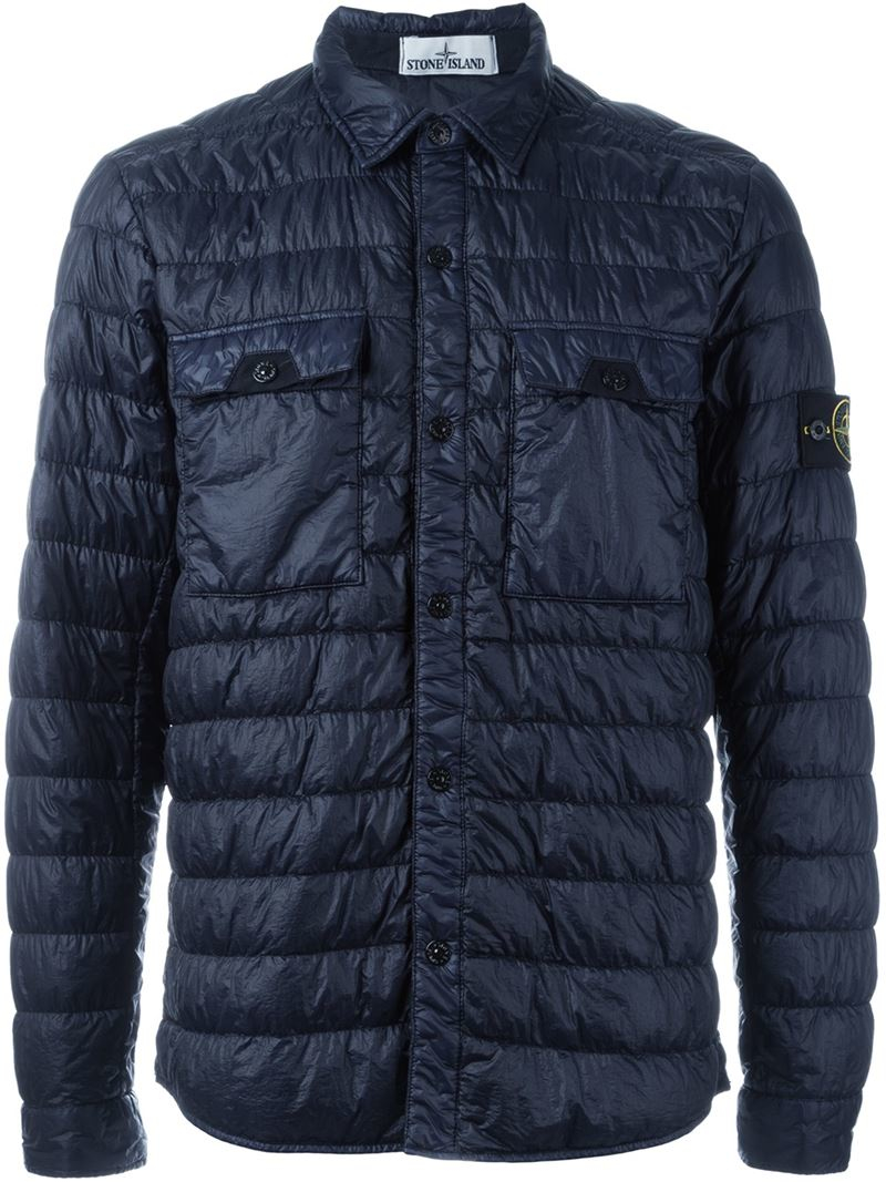 Stone Island Padded Shirt Jacket In Blue For Men Lyst