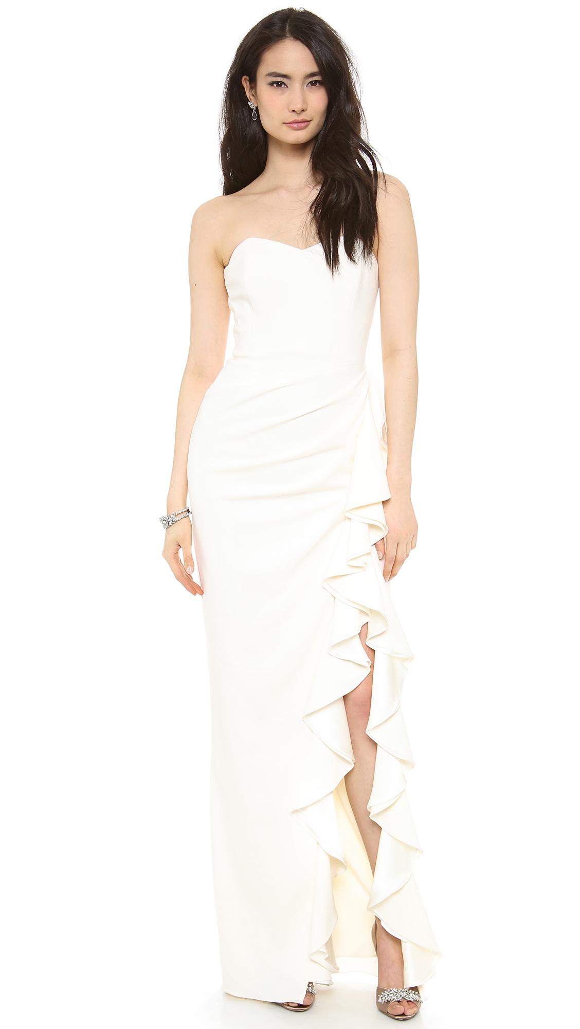 Lyst - Badgley mischka Ruffle Slit Strapless Gown in White