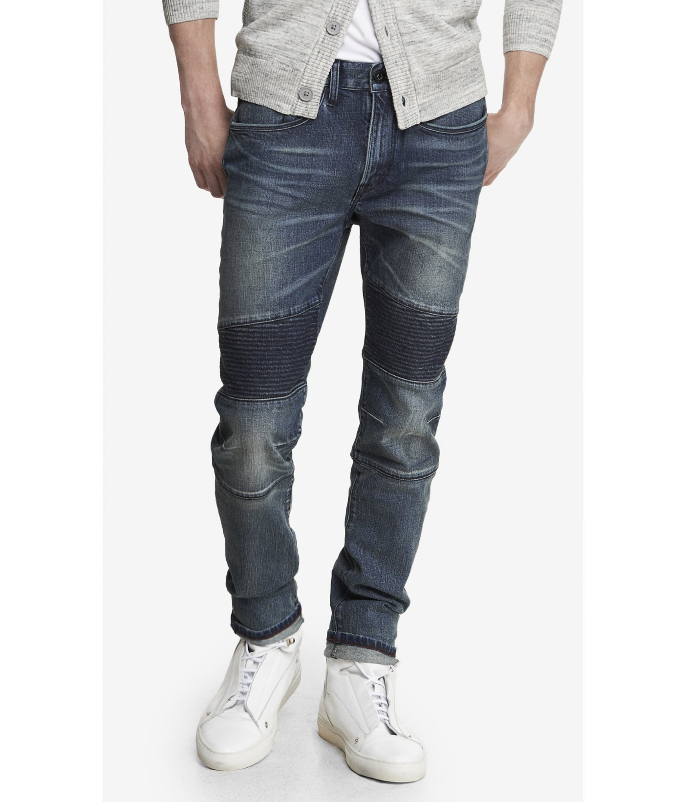 Express Alec Quilted Super Skinny Moto Jean In Blue For