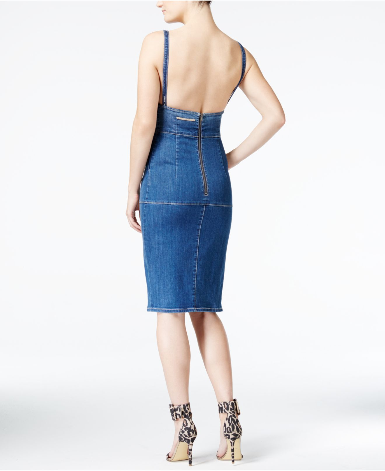 c9752ec52 Lyst - Guess Denim Bib Dress in Blue