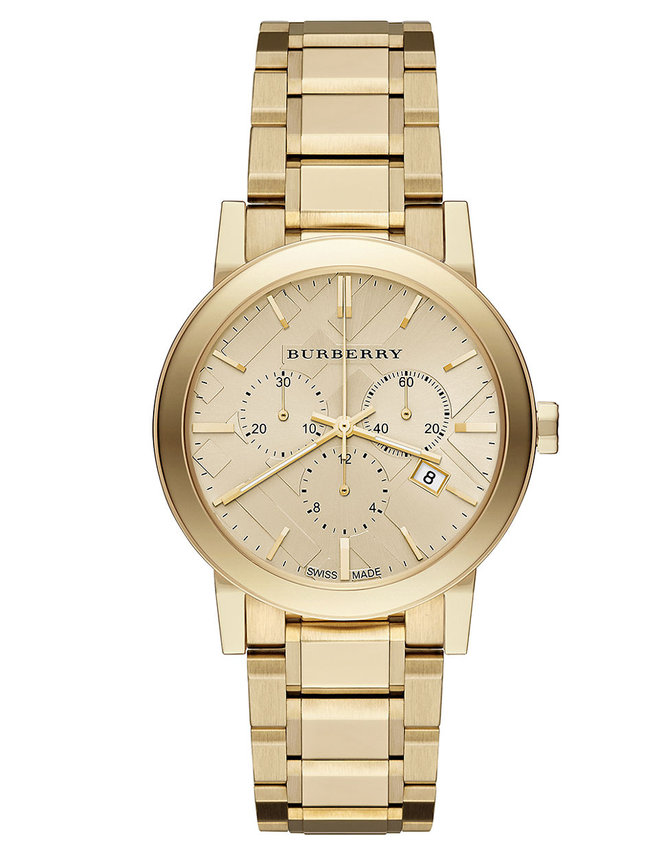 burberry gold tone stainless steel chronograph