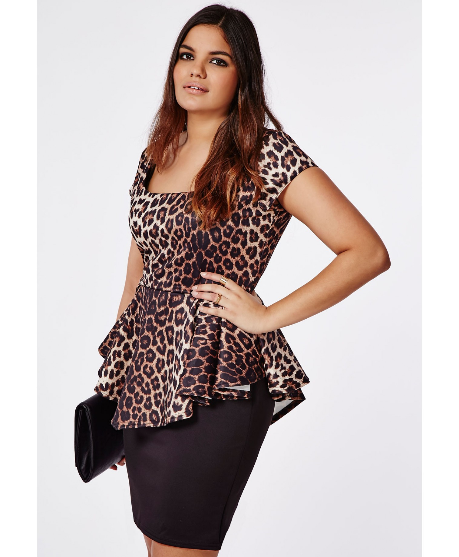 Missguided Plus Size Leopard Print Peplum Dress | Lyst