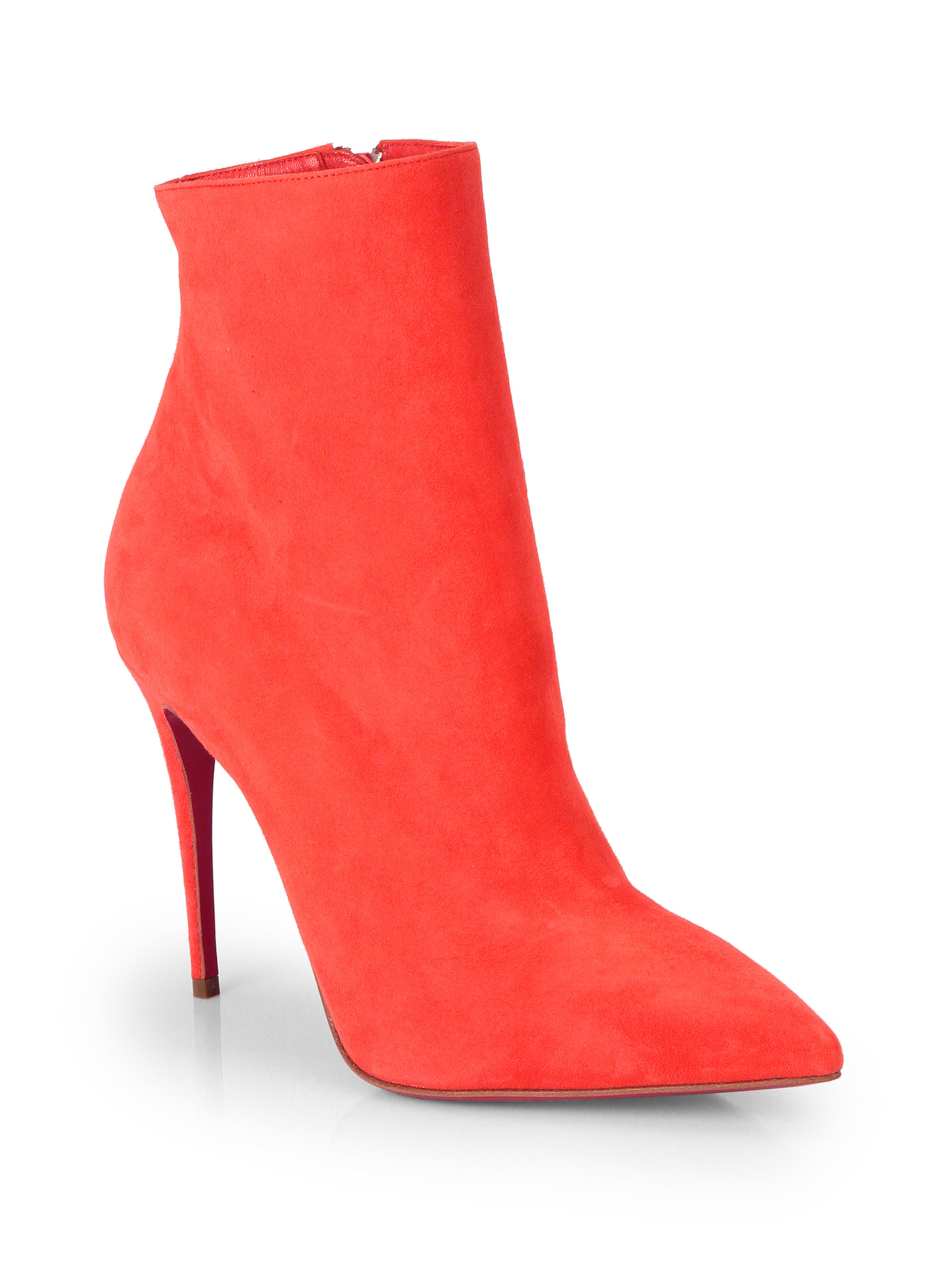 christian louboutin ankle boots Grey suede covered heels ...