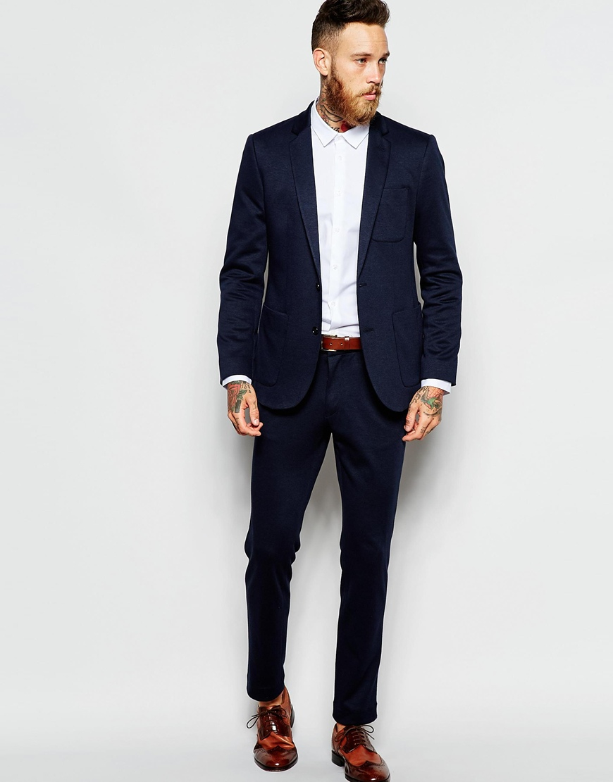 Asos Slim Suit Trousers In Jersey in Blue for Men | Lyst