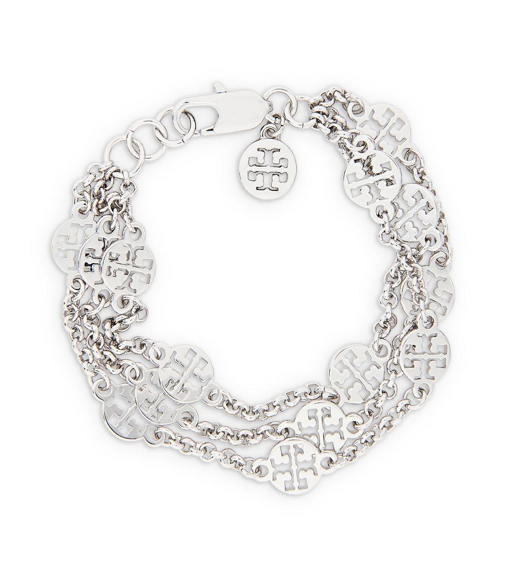 Lyst Tory Burch Multistrand Logo Bracelet In Metallic