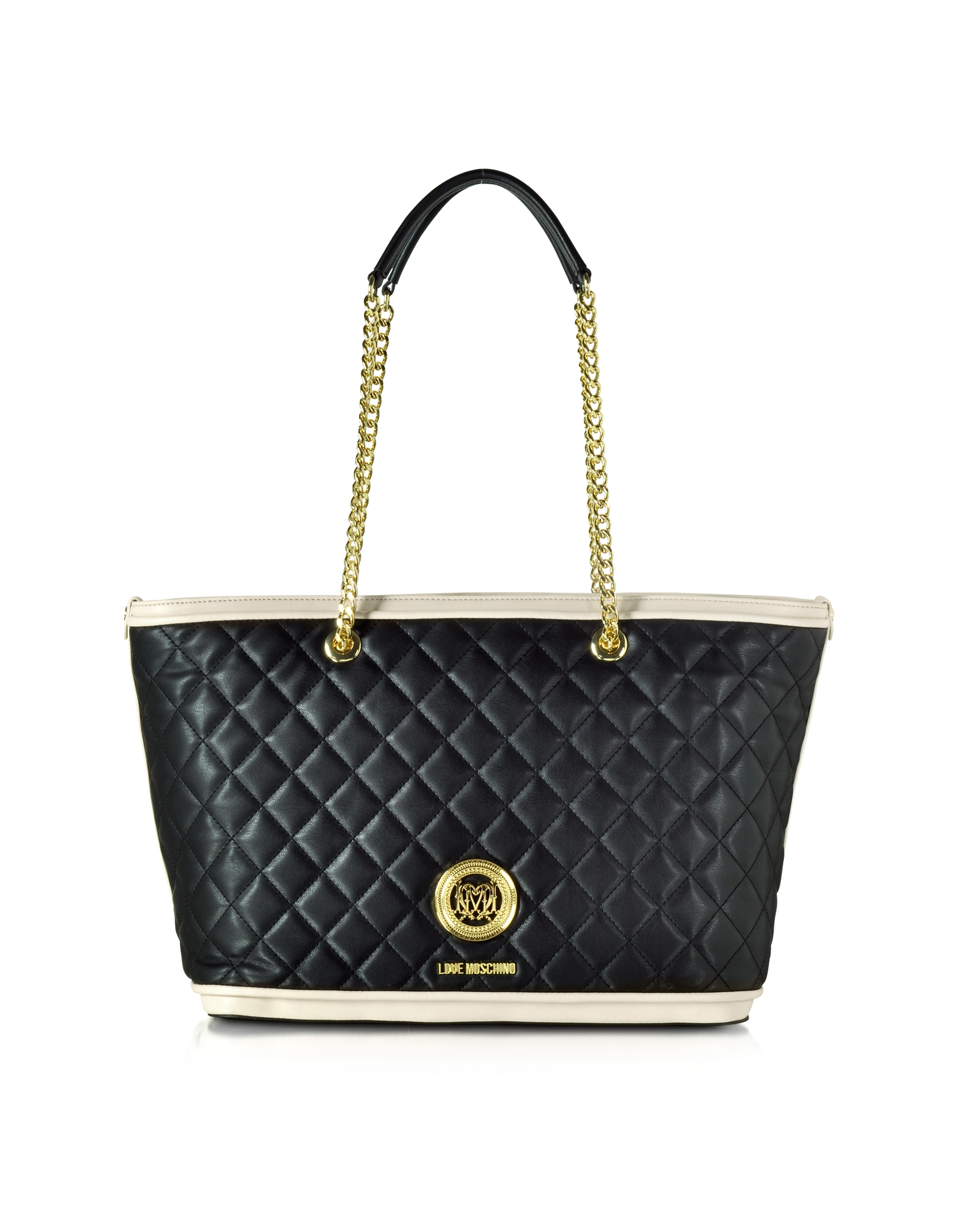 Love moschino Two Tone Quilted Eco-leather Tote Bag in Black | Lyst