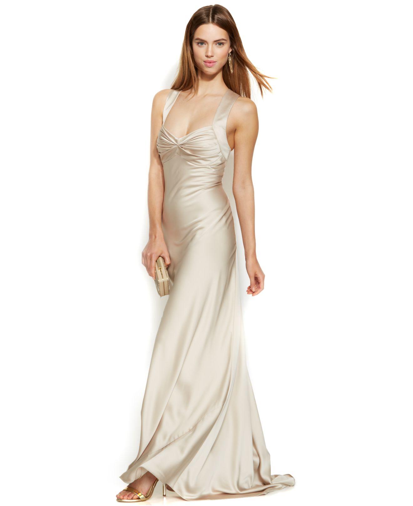 bac91289 Calvin Klein Sleeveless Satin Sweetheart Gown in Metallic - Lyst