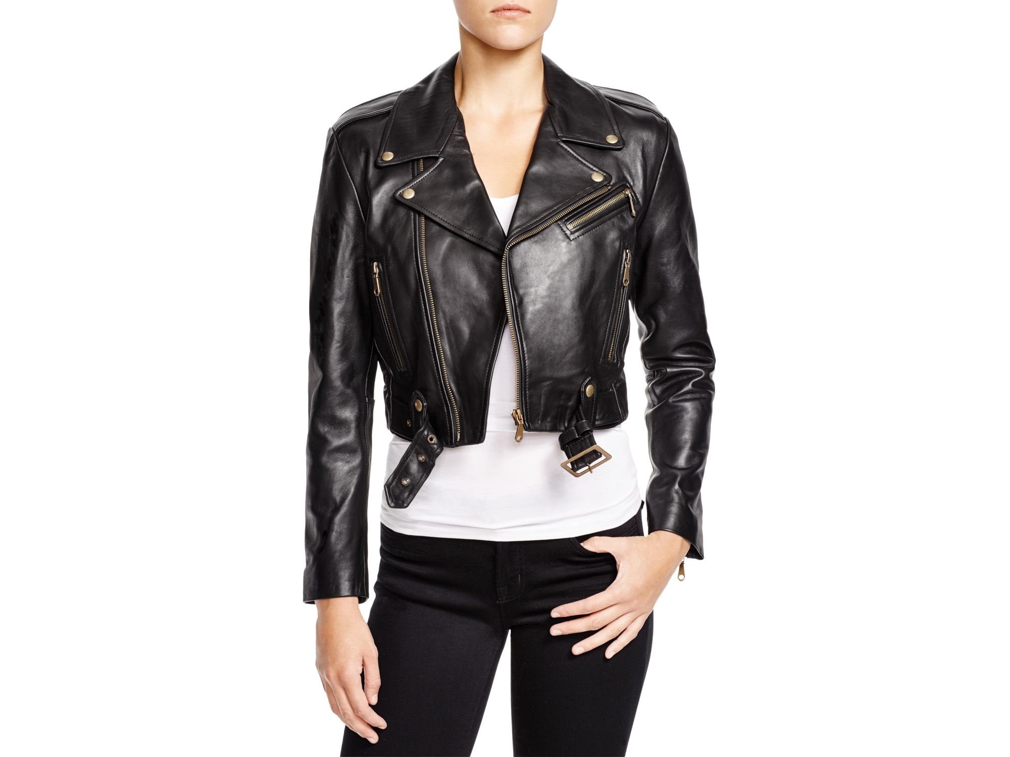 Rebecca minkoff Harpur Cropped Leather Jacket in Black | Lyst
