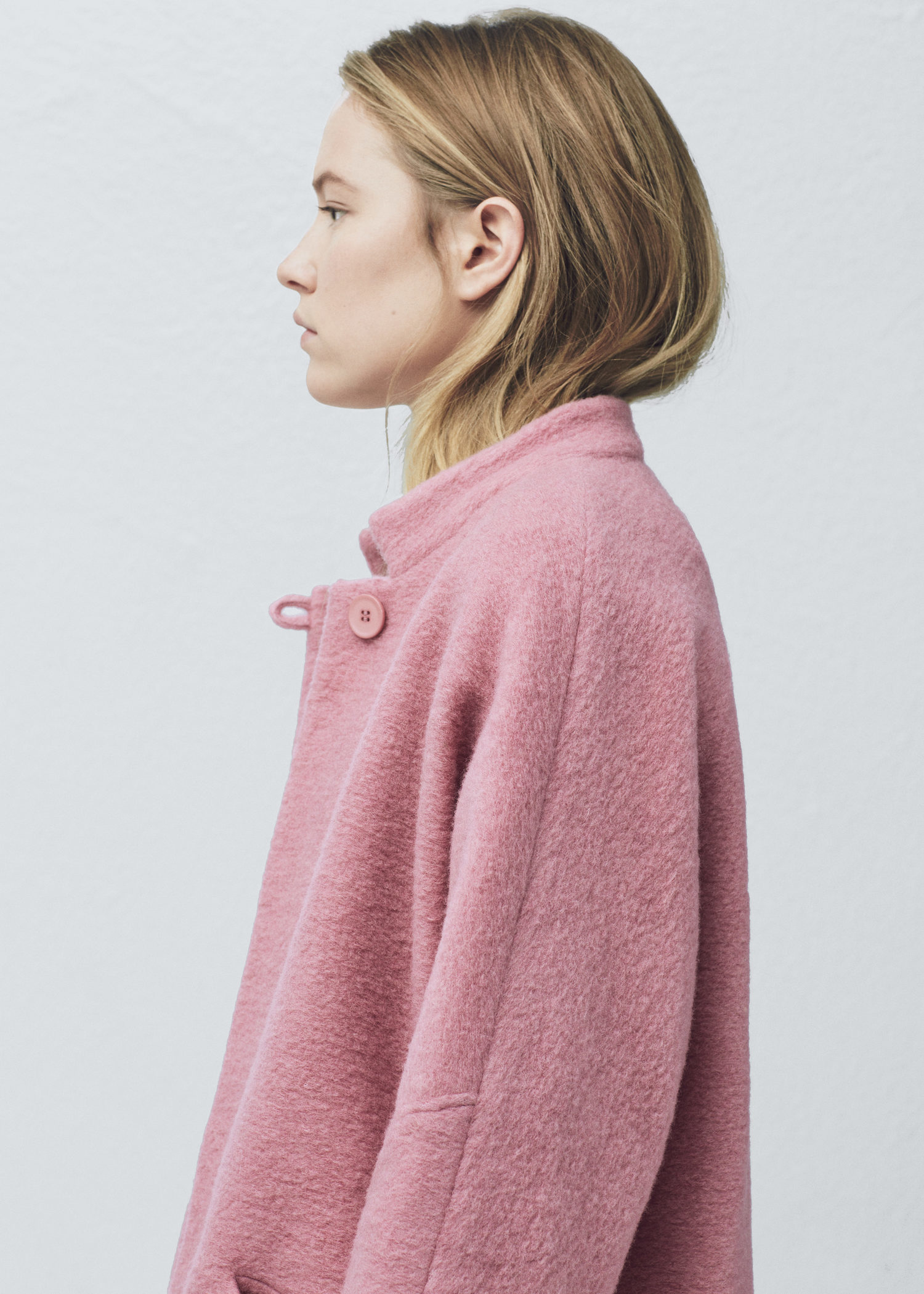 Lyst - Mango Oversize Wool Coat in Pink