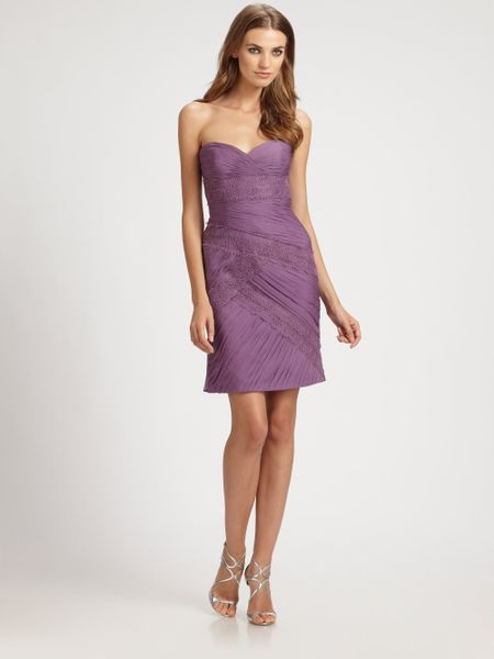 Ml Monique Lhuillier Silk Chiffon Lace Strapless Cocktail Dress in Purple (lilac)
