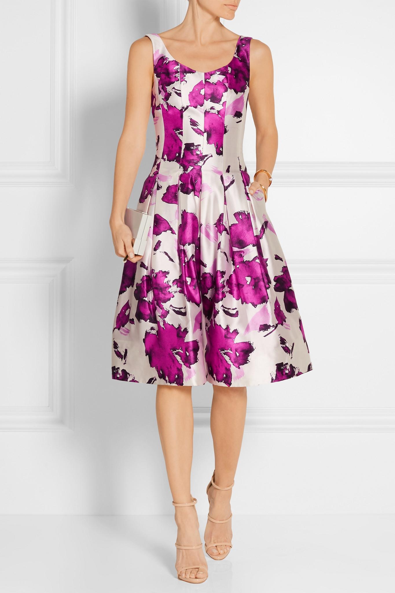 floral-print pleated dress - White Oscar De La Renta oBWtIvHW