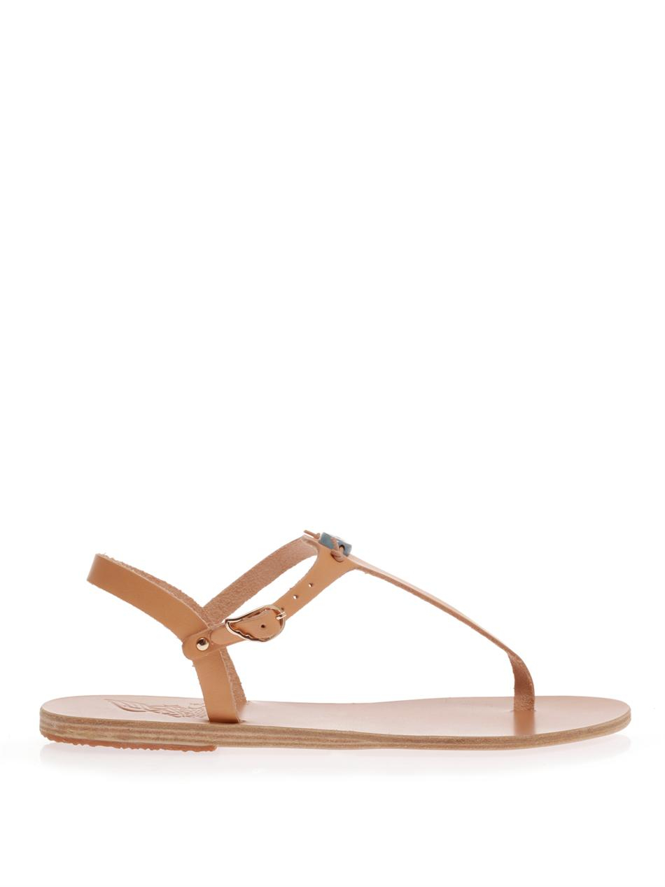 Lyst - Ancient Greek Sandals Painted Eye Leather Thong Sandals in Brown
