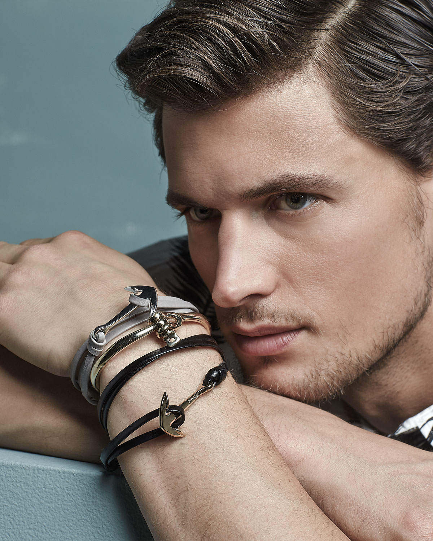 Lyst Miansai Anchor Leather Bracelet In Gray