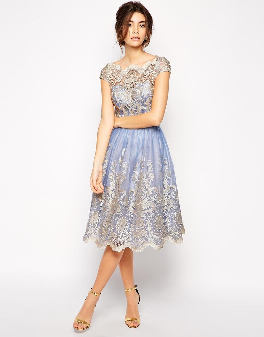 Chi Chi London Premium Metallic Lace Prom Dress With
