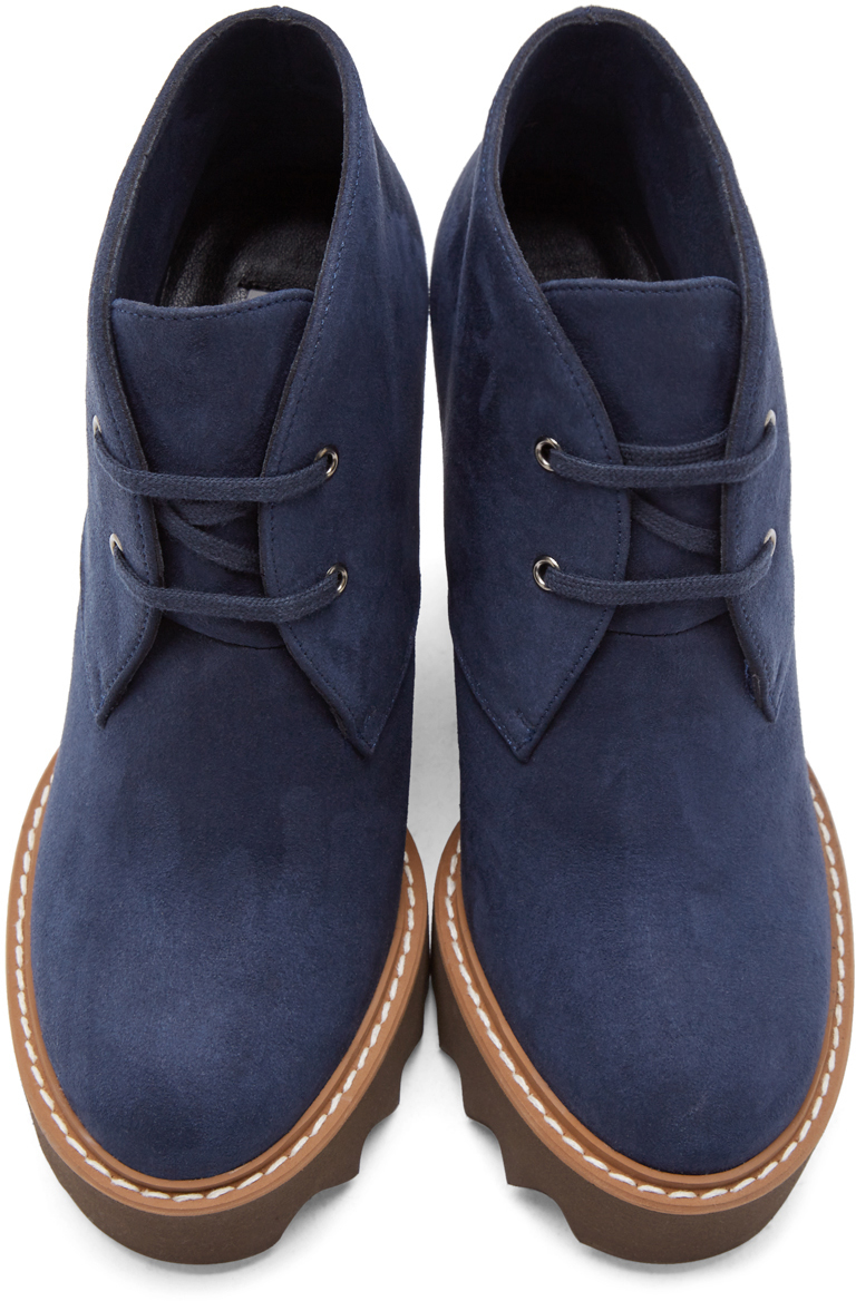 Lyst - Stella Mccartney Navy Suede Ankle Boots in Blue