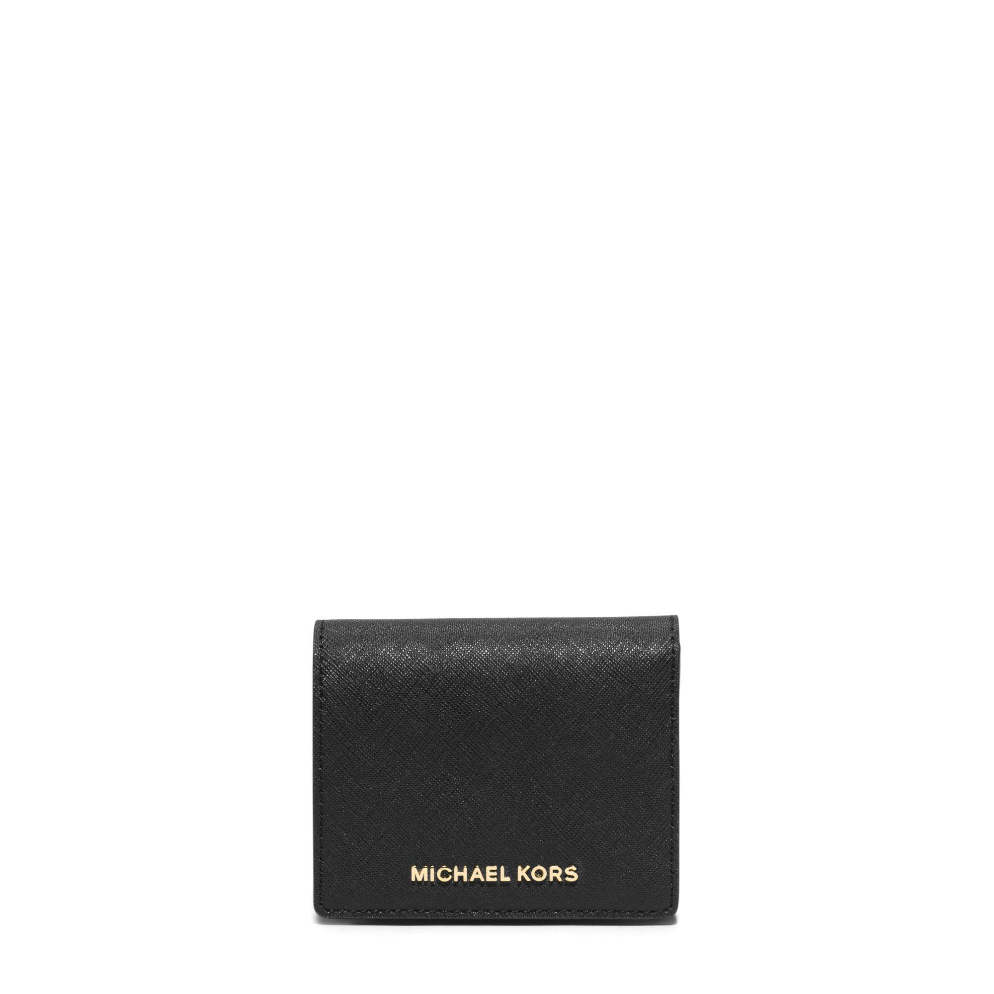 9f22da4af843 Michael Kors Jet Set Travel Saffiano Leather Card Holder in Black - Lyst