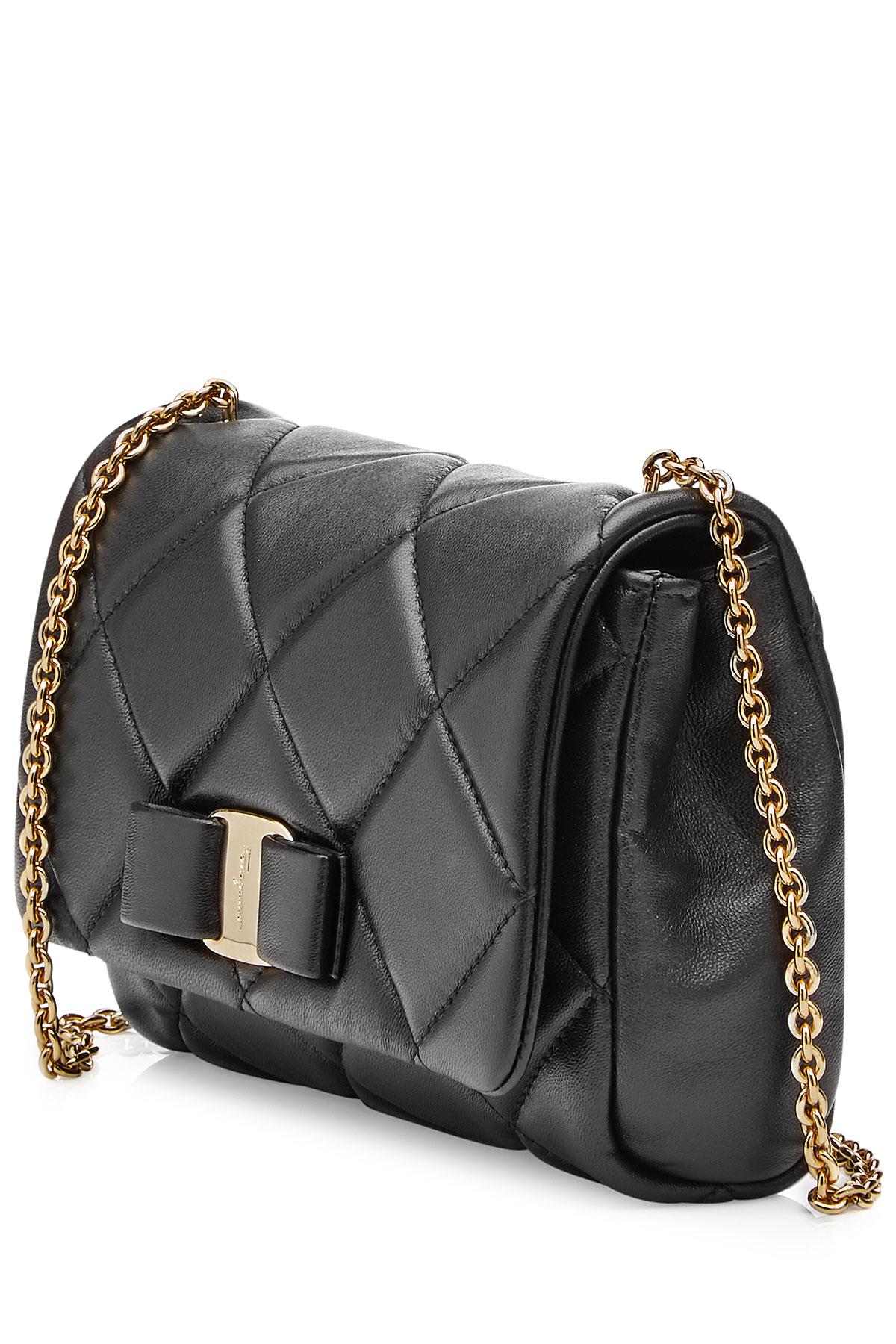2899b8b110db Lyst - Ferragamo Gelly Mini Quilted Leather Shoulder Bag - Black in ...