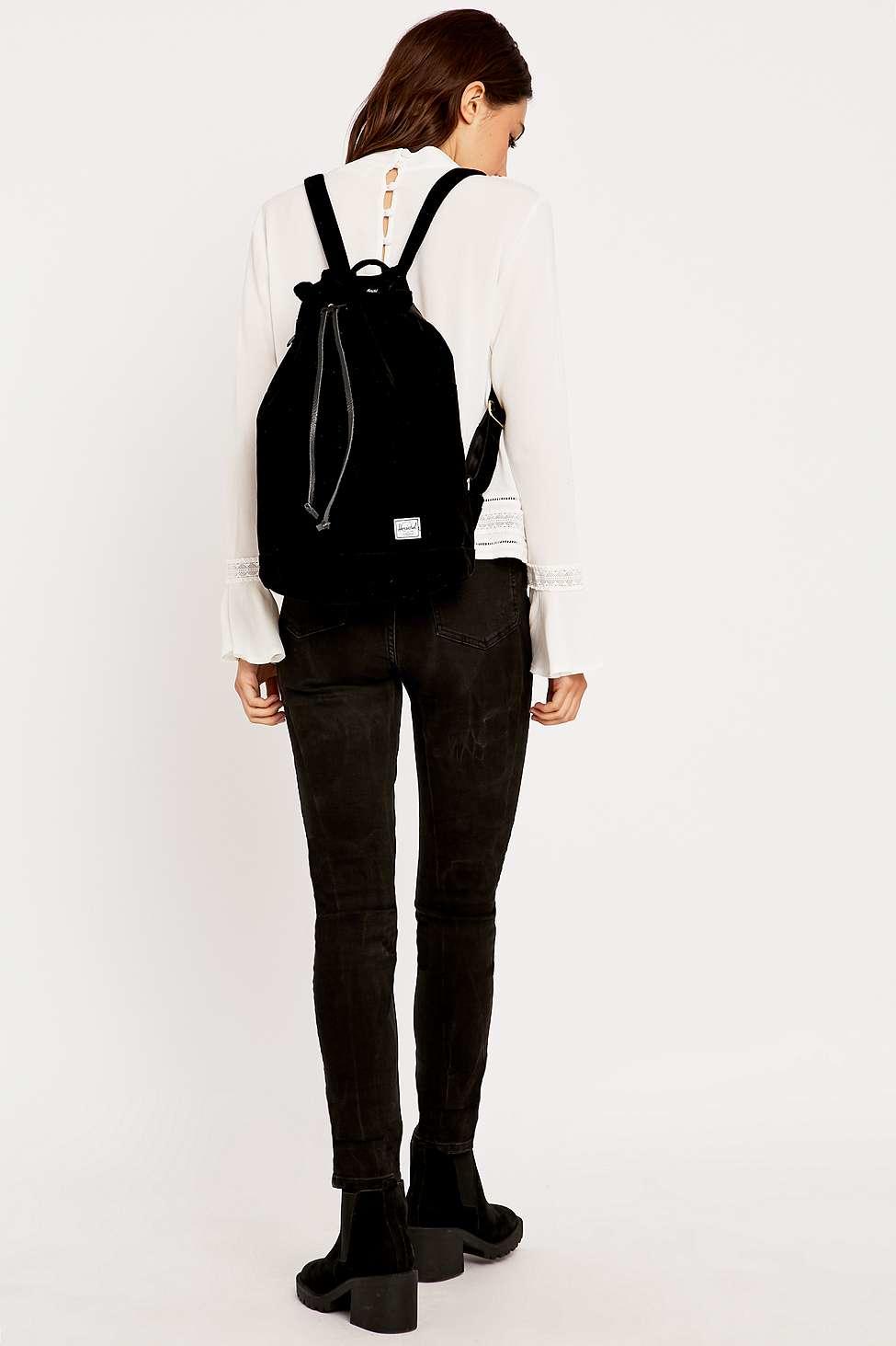 acabd95083f Herschel Supply Co. Hanson Black Velvet Backpack in Black - Lyst