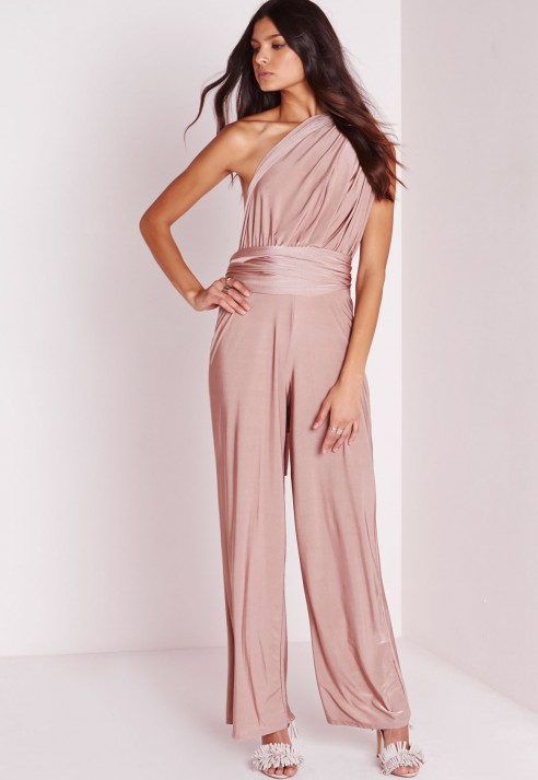 fbebaab8d8a Missguided Do It Anyway Multiway Slinky Jumpsuit Pink in Pink - Lyst
