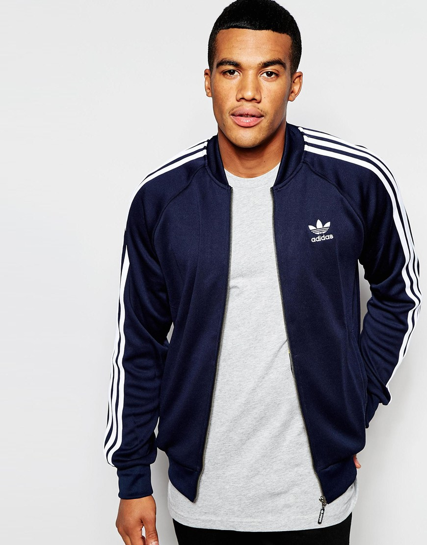 adidas originals superstar track jacket aj7003 in blue for. Black Bedroom Furniture Sets. Home Design Ideas