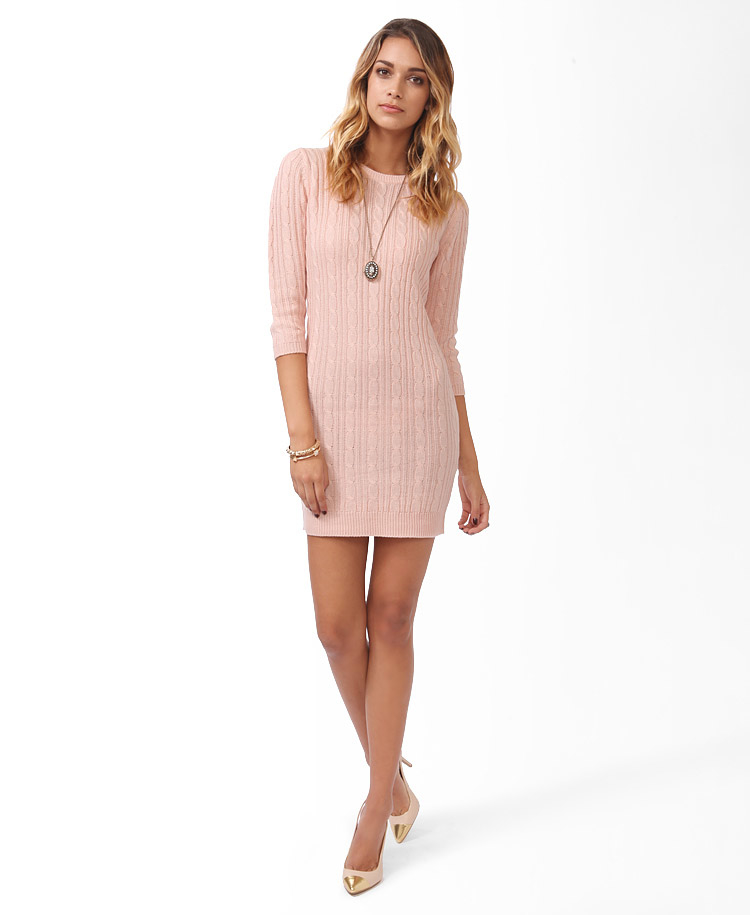 bf32495c4dd5 Forever 21 Essential Cable Sweater Dress in Pink - Lyst