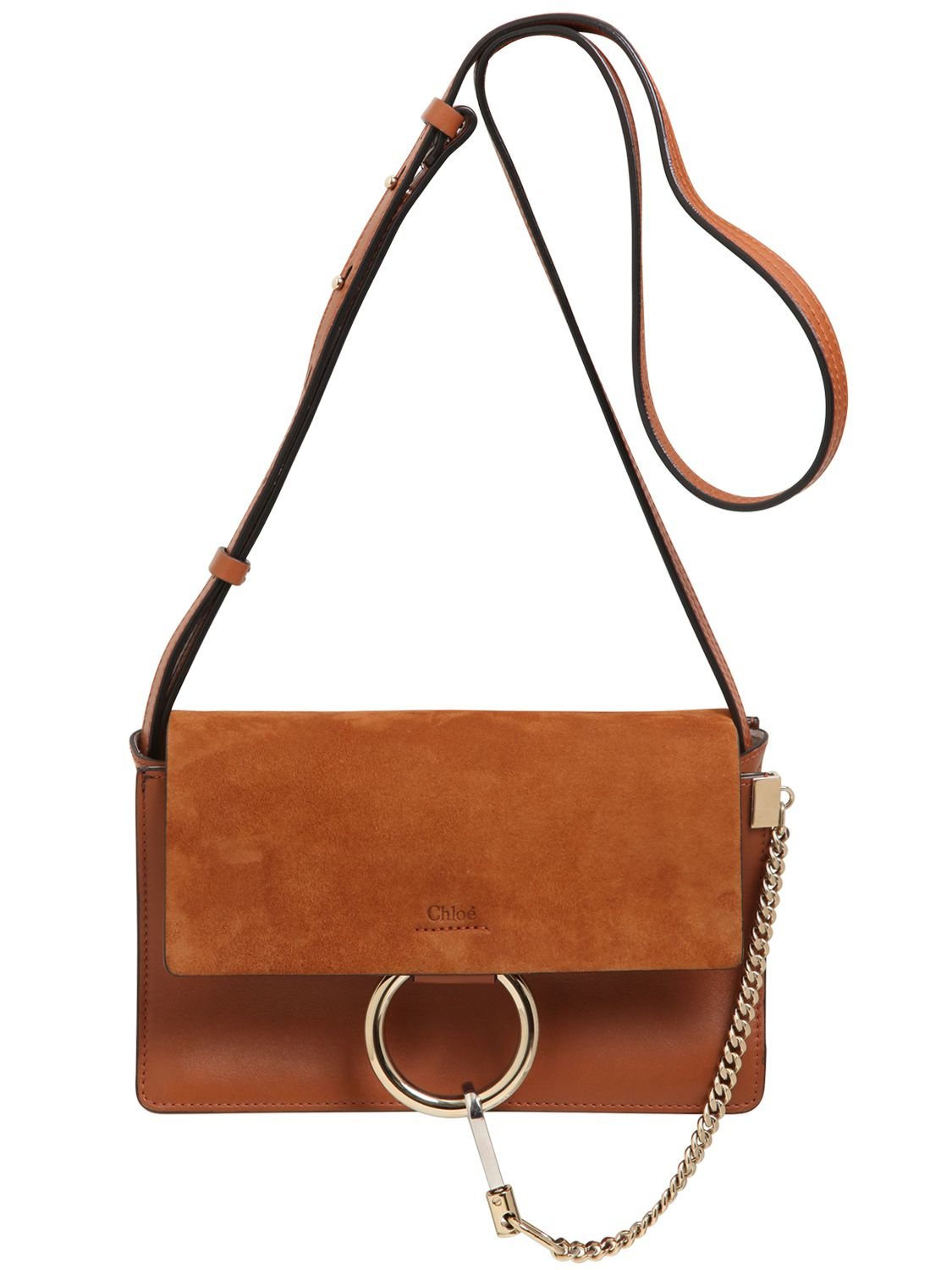 bb02ce0a53d00d Chloé Small Faye Leather & Suede Shoulder Bag in Brown - Lyst