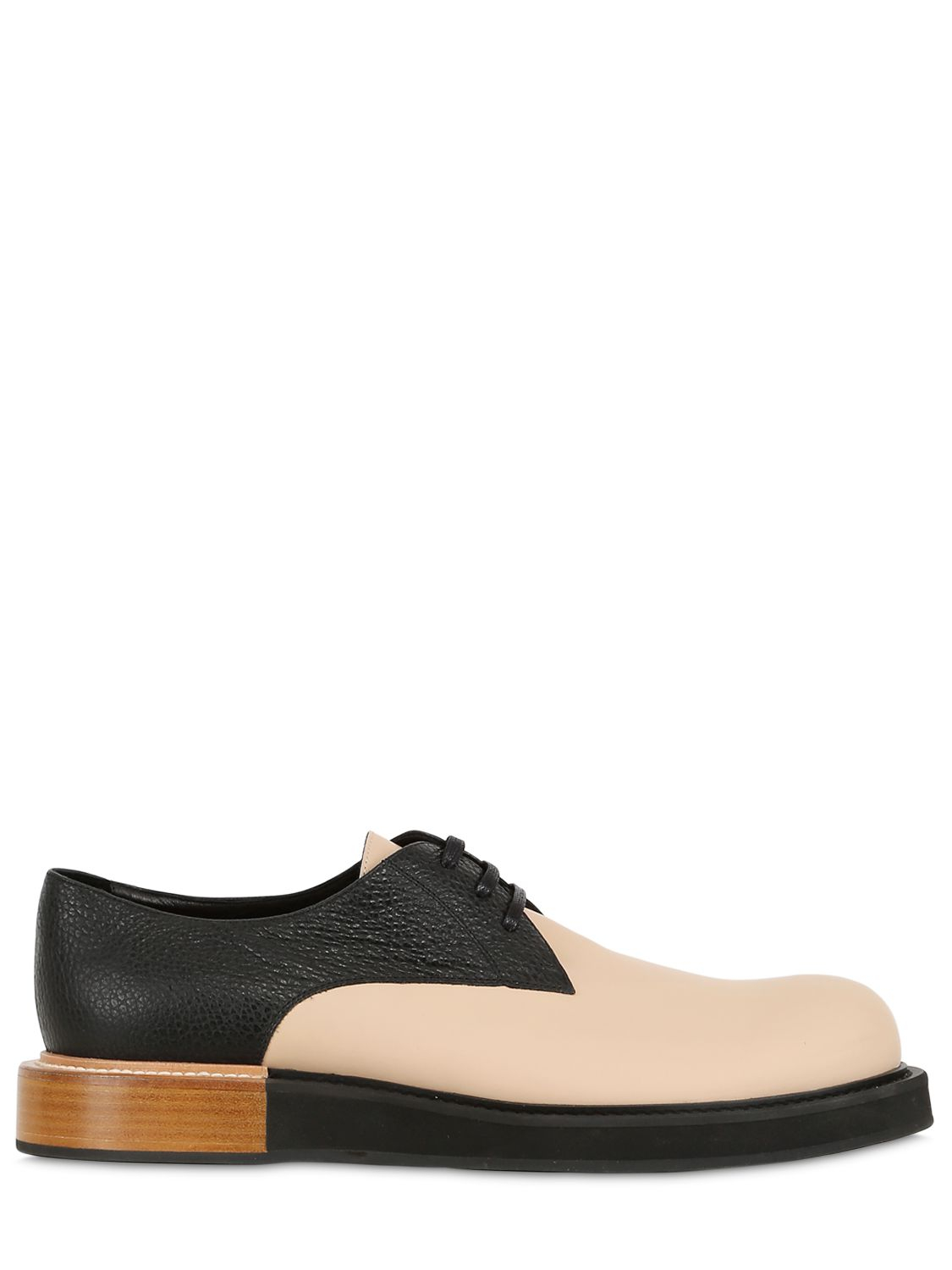 mobi two tone leather derby lace up shoes in black for