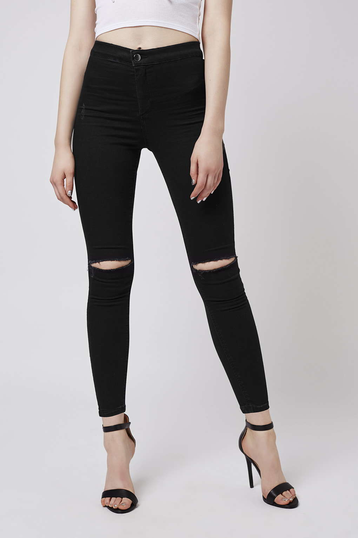 topshop petite black rip joni jeans in black lyst. Black Bedroom Furniture Sets. Home Design Ideas