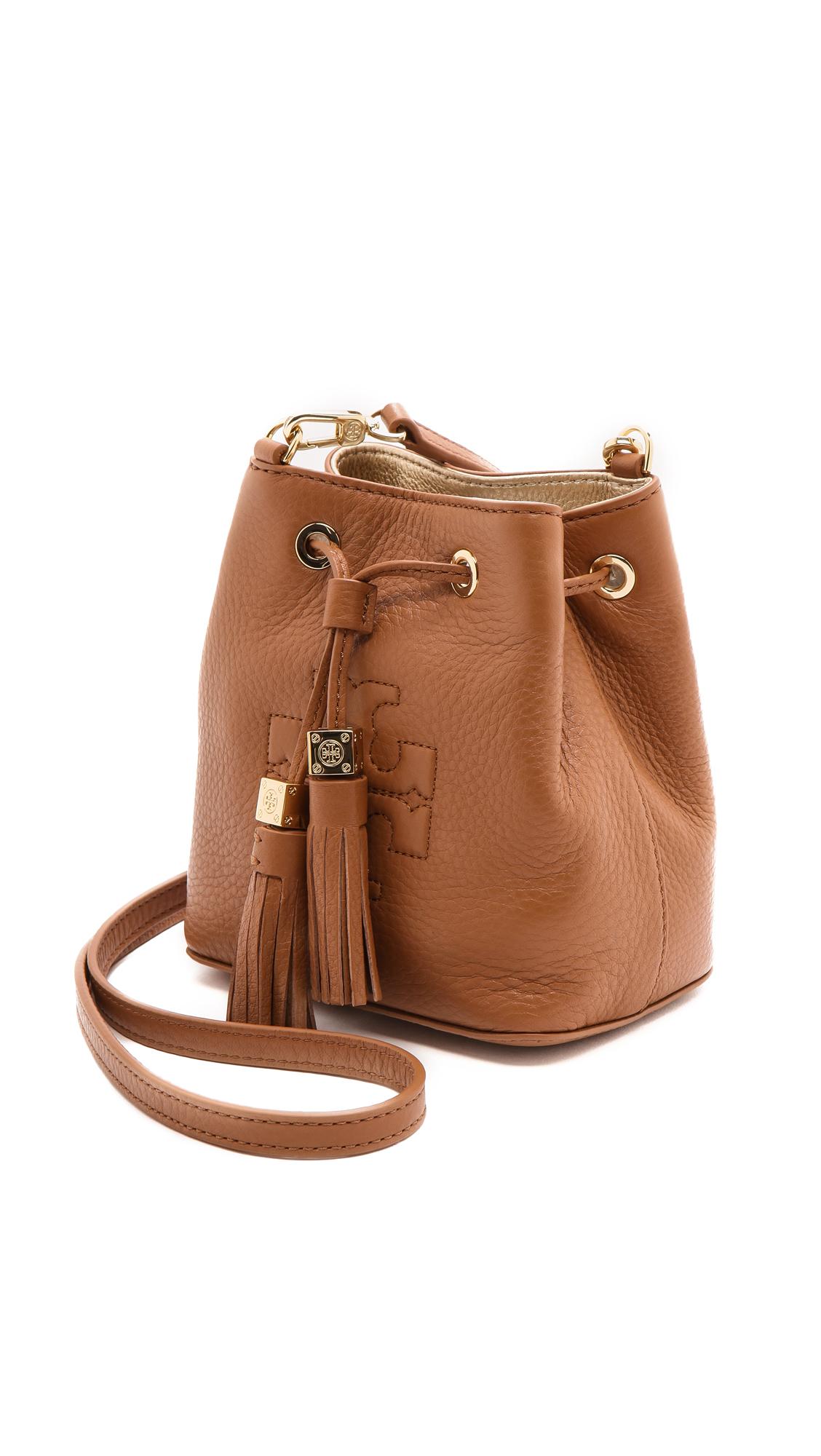 8f8362a29339 Lyst - Tory Burch Thea Mini Bucket Cross Body Bag - Black in Brown