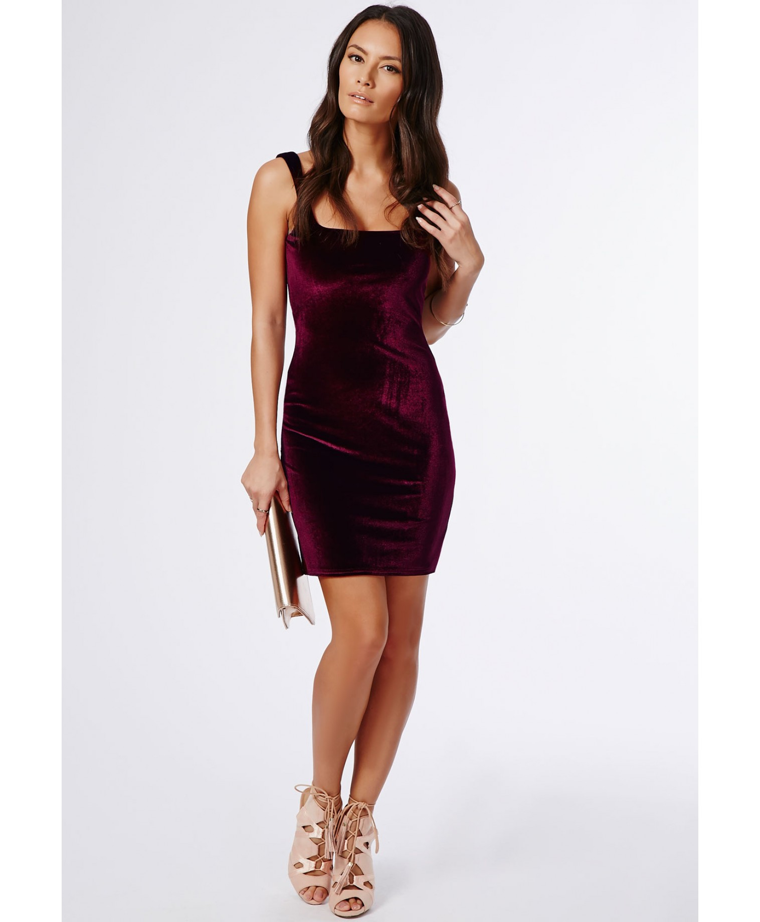 646c9cb4800d Missguided Pipin Velvet Bodycon Dress Burgundy in Purple - Lyst