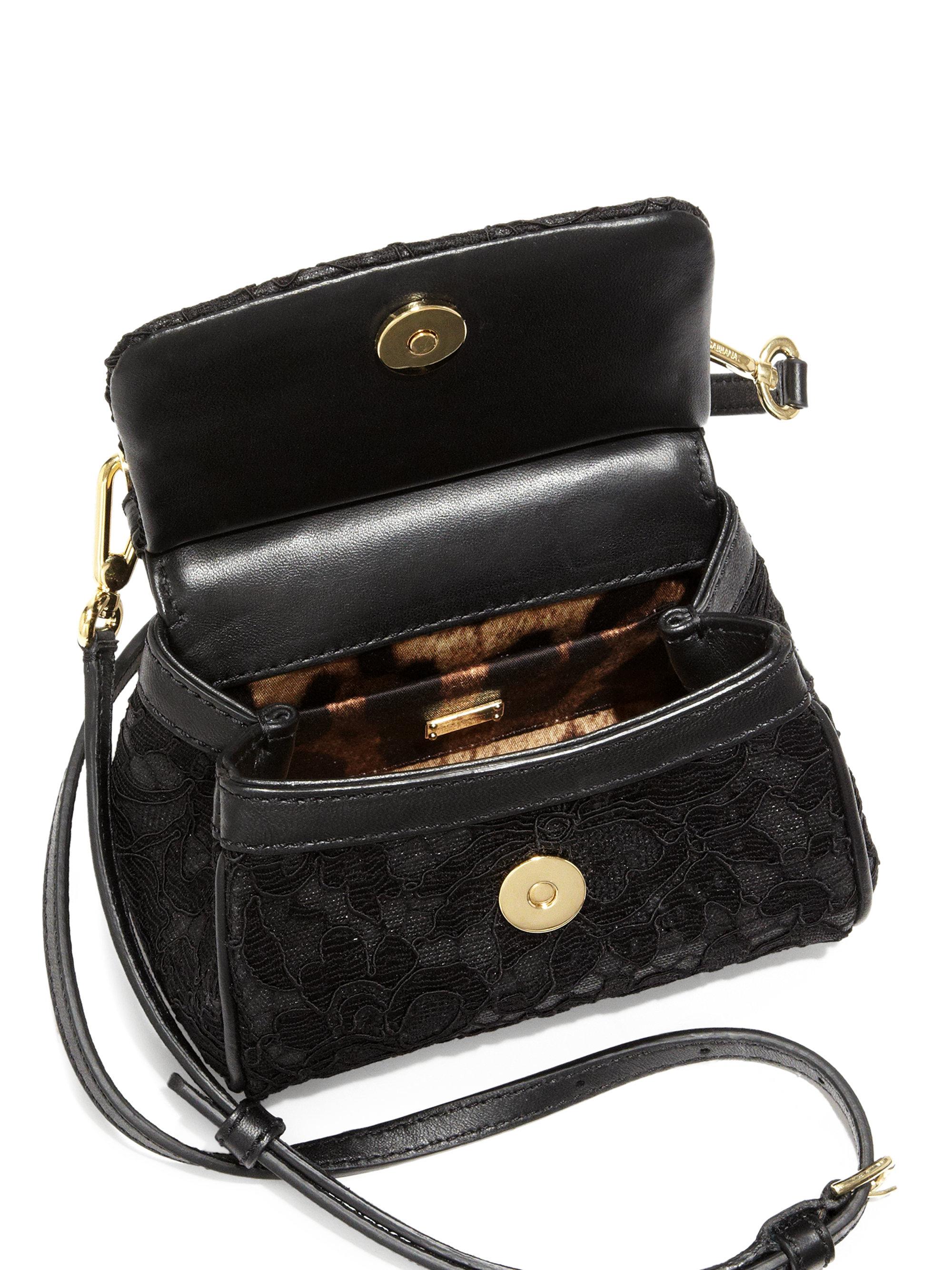 Lyst - Dolce   Gabbana Miss Sicily Lace Mini Crossbody Bag in Black a6bec11740