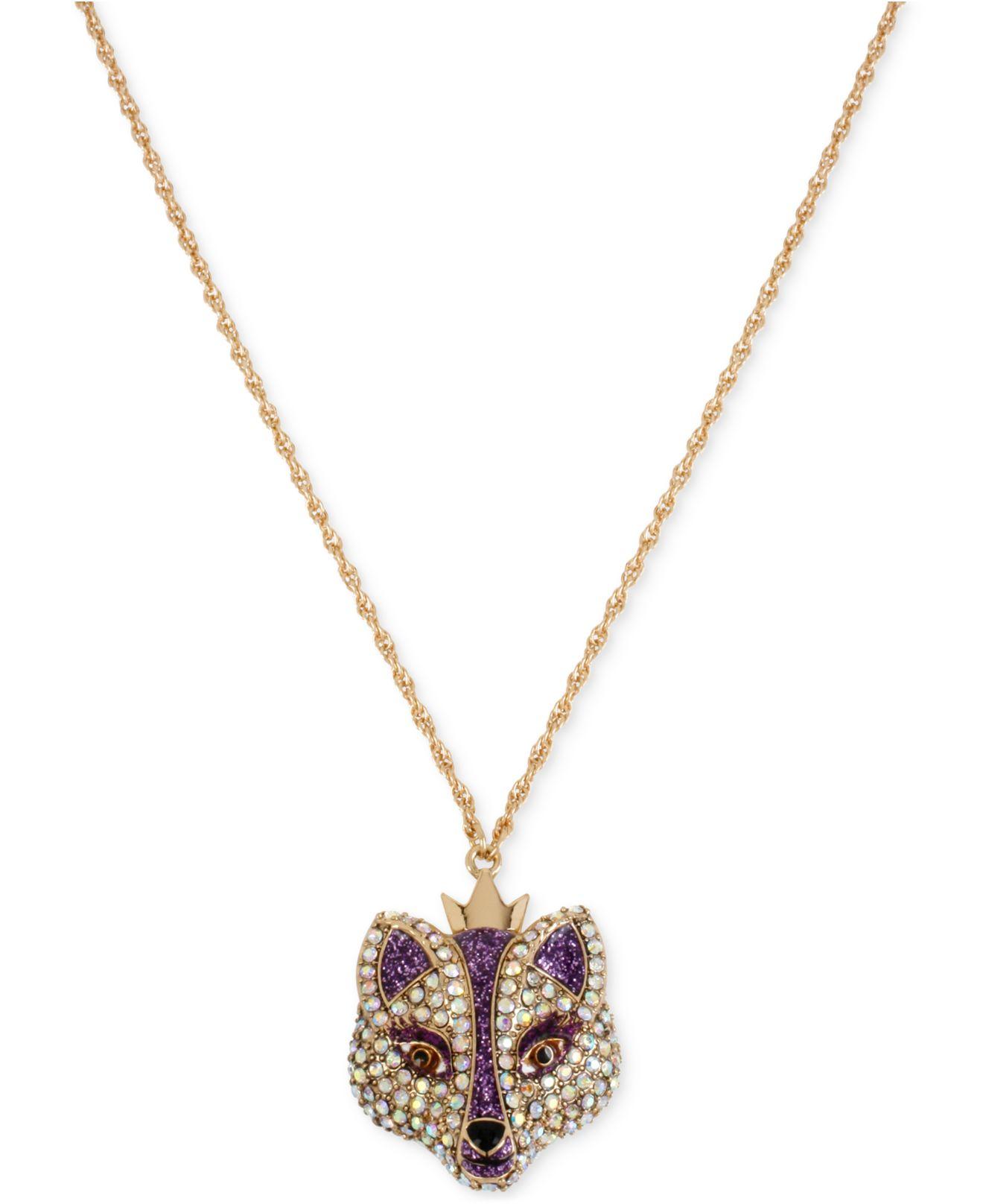 betsey johnson gold tone embellished fox pendant necklace