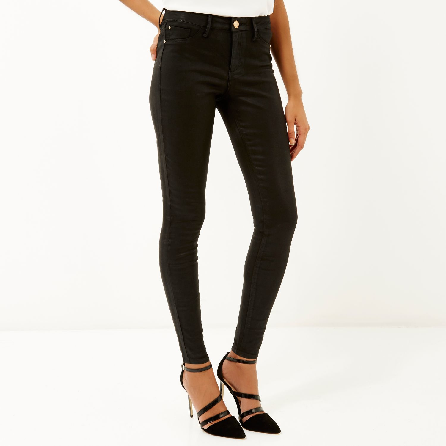 cf1cbcf84d6c6f River Island Black Coated Molly Jeggings in Black - Lyst