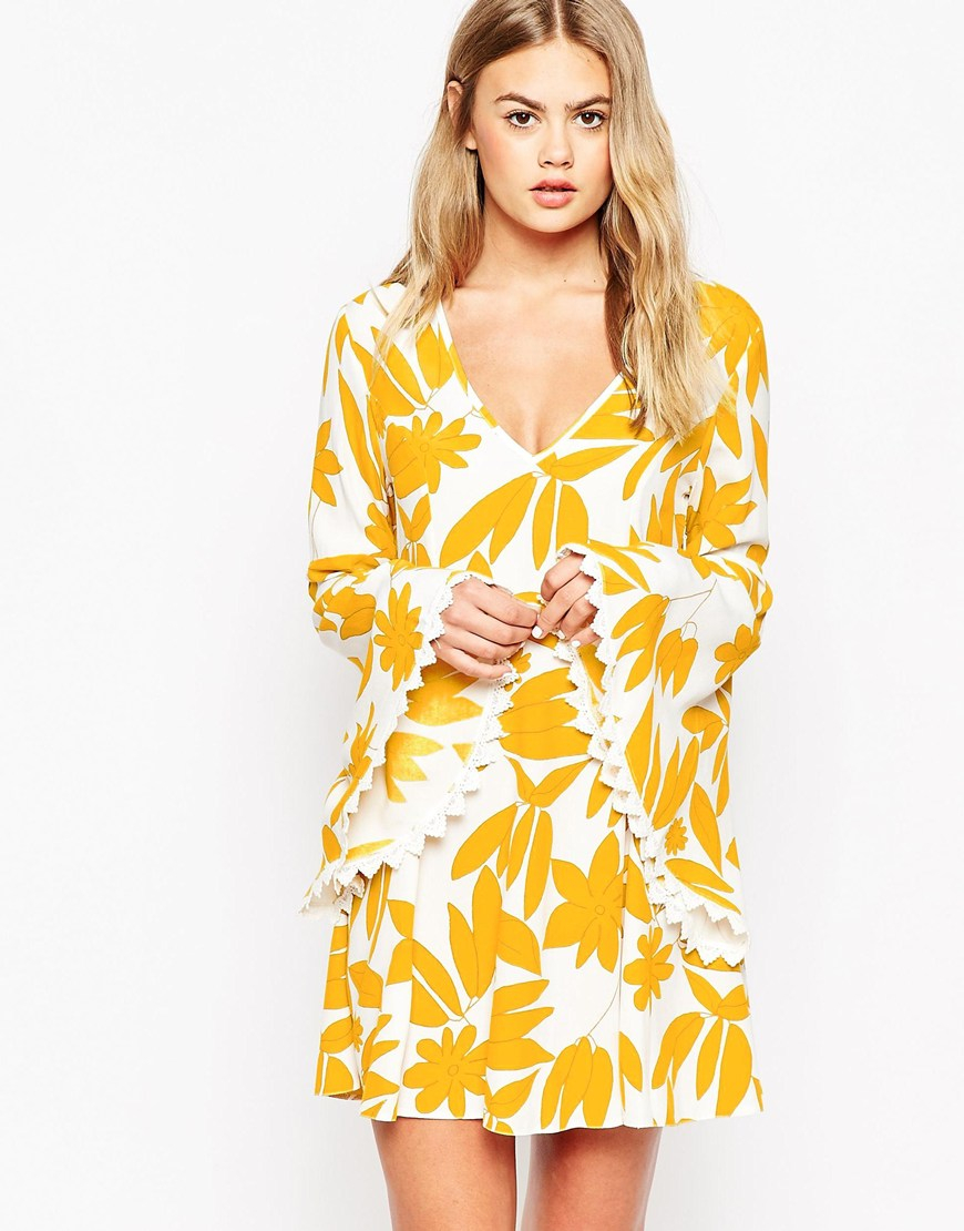 Asos Dress With Fluted Sleeve In Retro Print In Yellow Lyst