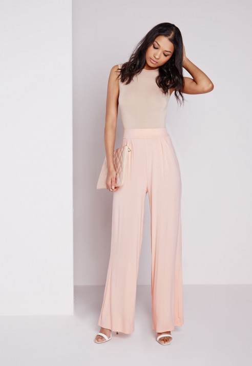 Missguided Jersey Wide Leg Trousers Blush in Pink | Lyst