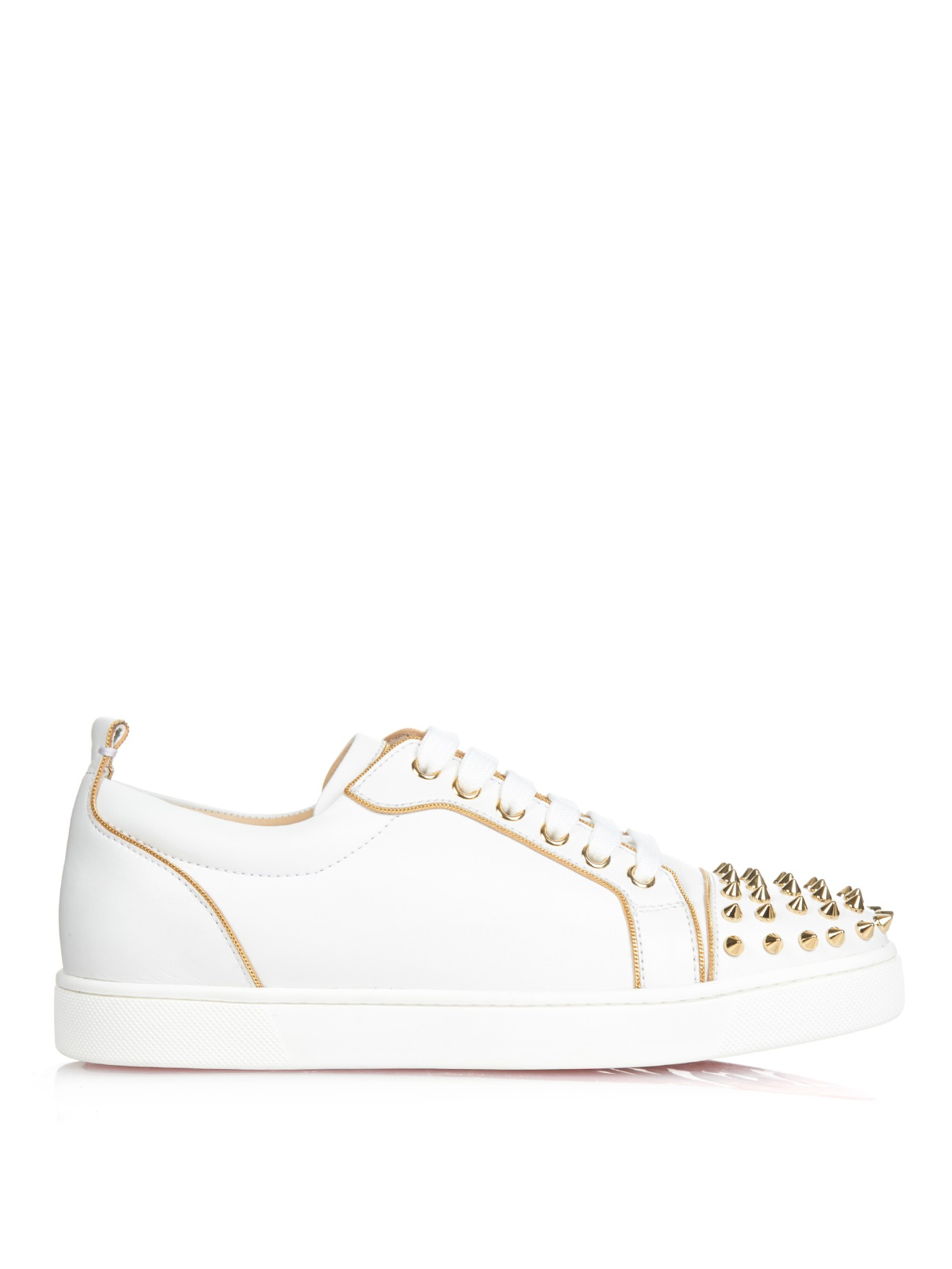Christian louboutin Rush Studded Low-Top Leather Trainers in Gold ...