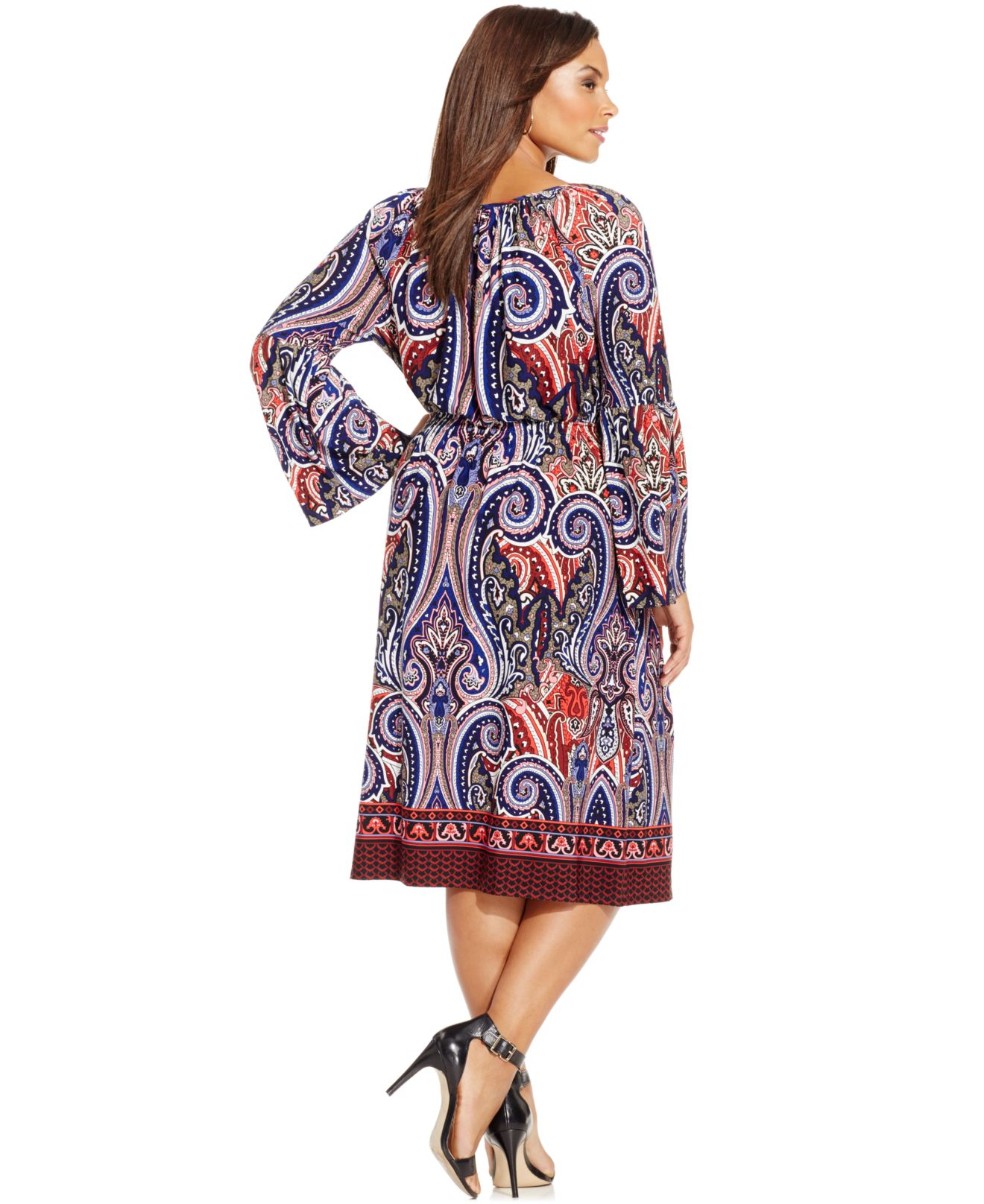 Inc international concepts Plus Size Paisley-print Peasant Dress ...
