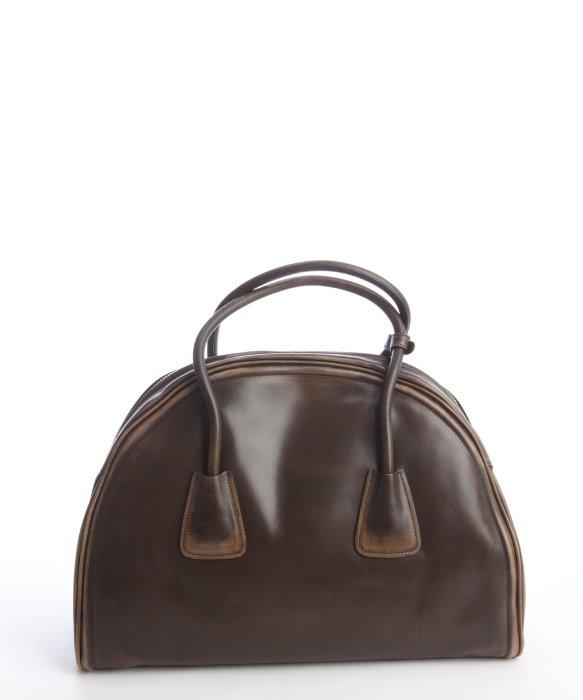 Prada Coffee Distressed Leather Bowler Bag in Brown (coffee)   Lyst