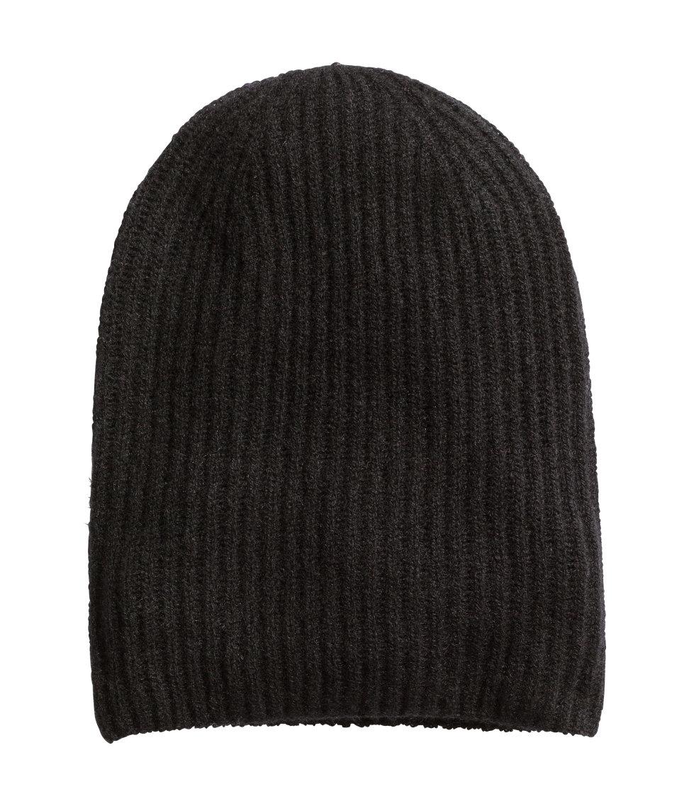 h m hat in a cashmere blend in black lyst. Black Bedroom Furniture Sets. Home Design Ideas
