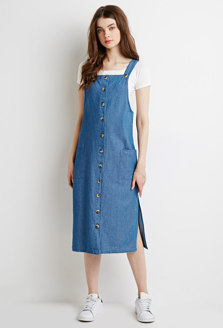 lyst forever 21 longline chambray overall dress in blue